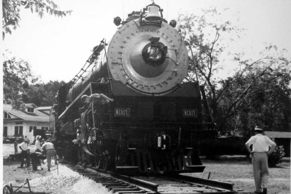 Locomotive 576 being moved into the park.